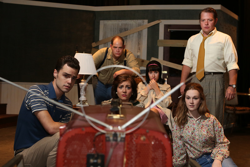 "The cast of New Line Theatre's ""Night of the Living Dead,"" 2013. L-R, Joseph McAnulty, Zachary Allen Farmer, Sarah Porter, Marcy Wiegert, Mary Beth Black, Mike Dowdy. Photo credit: Jill Ritter Lindberg."